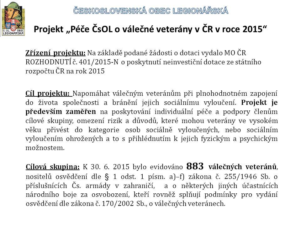 """Projekt """"Péče ČsOL o válečné veterány v ČR v roce 2015 Cíl projektu: Napomáhat válečným veteránům při plnohodnotném zapojení do života společnosti a bránění jejich sociálnímu vyloučení."""