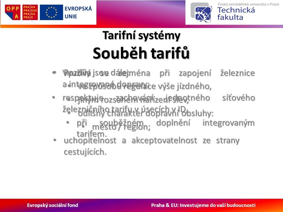 Evropský sociální fond Praha & EU: Investujeme do vaší budoucnosti Tarifní systémy Souběh tarifů Využívá se zejména při zapojení železnice a integrované dopravy; Využívá se zejména při zapojení železnice a integrované dopravy; respektuje zachování jednotného síťového železničního tarifu v úsecích v ID, respektuje zachování jednotného síťového železničního tarifu v úsecích v ID, při souběžném doplnění integrovaným tarifem.