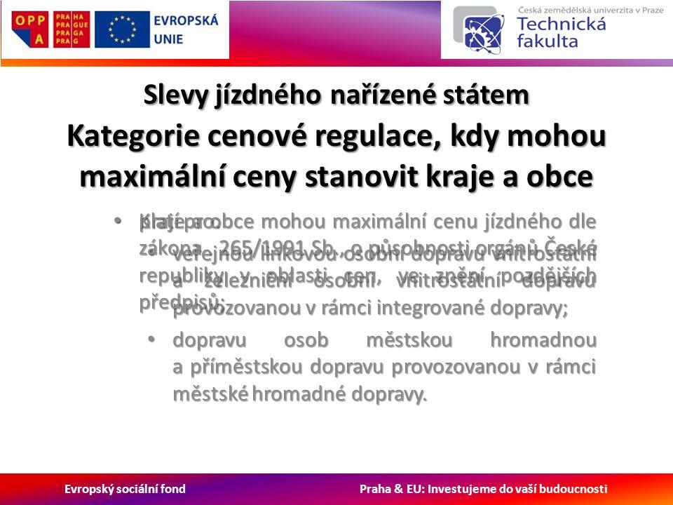 Evropský sociální fond Praha & EU: Investujeme do vaší budoucnosti Slevy jízdného nařízené státem Kategorie cenové regulace, kdy mohou maximální ceny