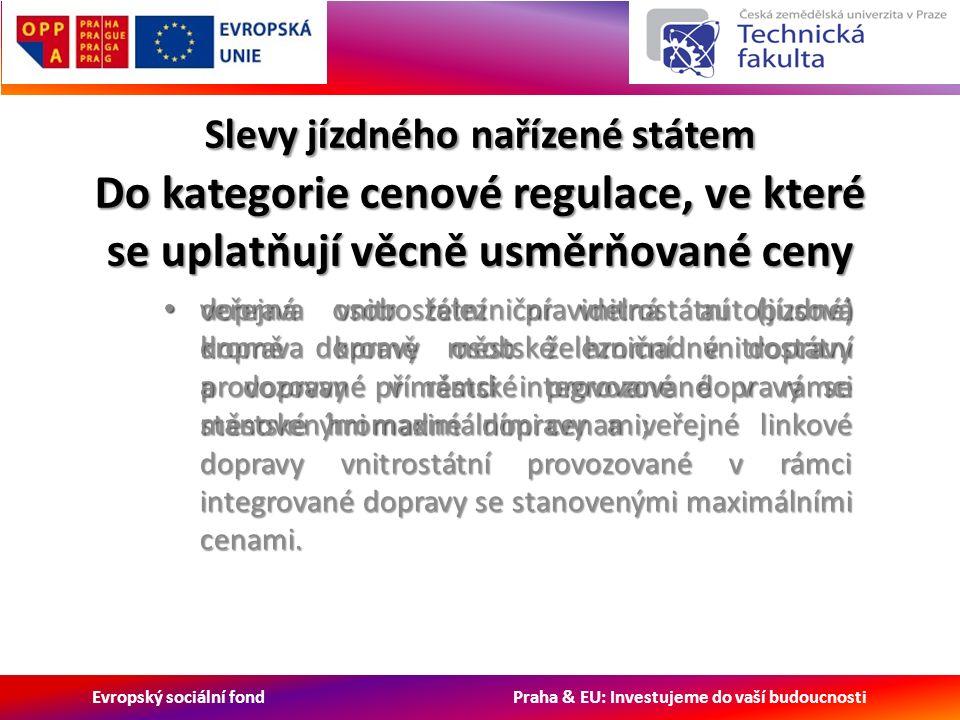 Evropský sociální fond Praha & EU: Investujeme do vaší budoucnosti Slevy jízdného nařízené státem Do kategorie cenové regulace, ve které se uplatňují