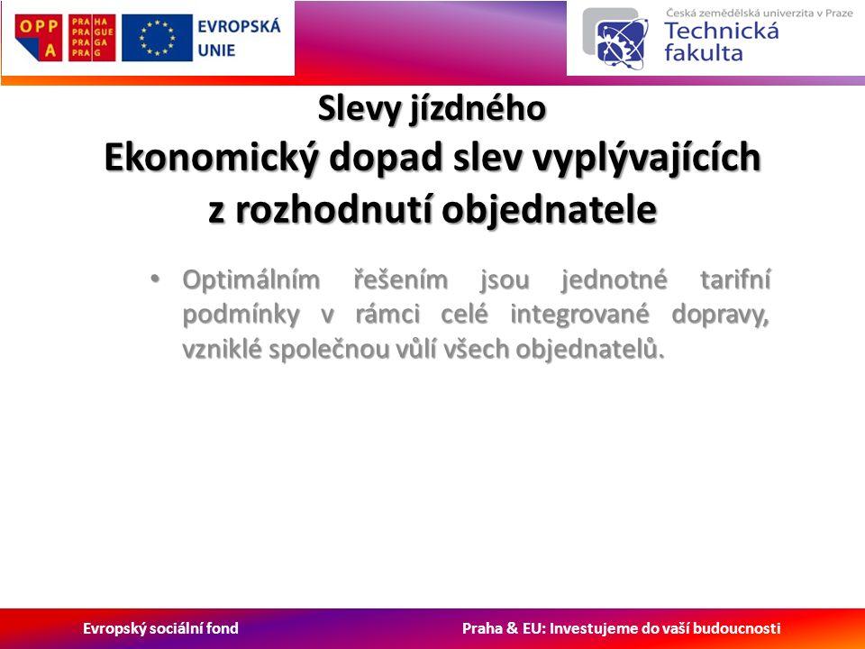 Evropský sociální fond Praha & EU: Investujeme do vaší budoucnosti Slevy jízdného Ekonomický dopad slev vyplývajících z rozhodnutí objednatele Optimálním řešením jsou jednotné tarifní podmínky v rámci celé integrované dopravy, vzniklé společnou vůlí všech objednatelů.