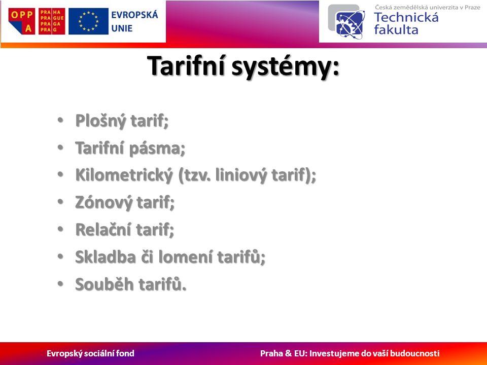 Evropský sociální fond Praha & EU: Investujeme do vaší budoucnosti Tarifní systémy: Plošný tarif; Plošný tarif; Tarifní pásma; Tarifní pásma; Kilometrický (tzv.