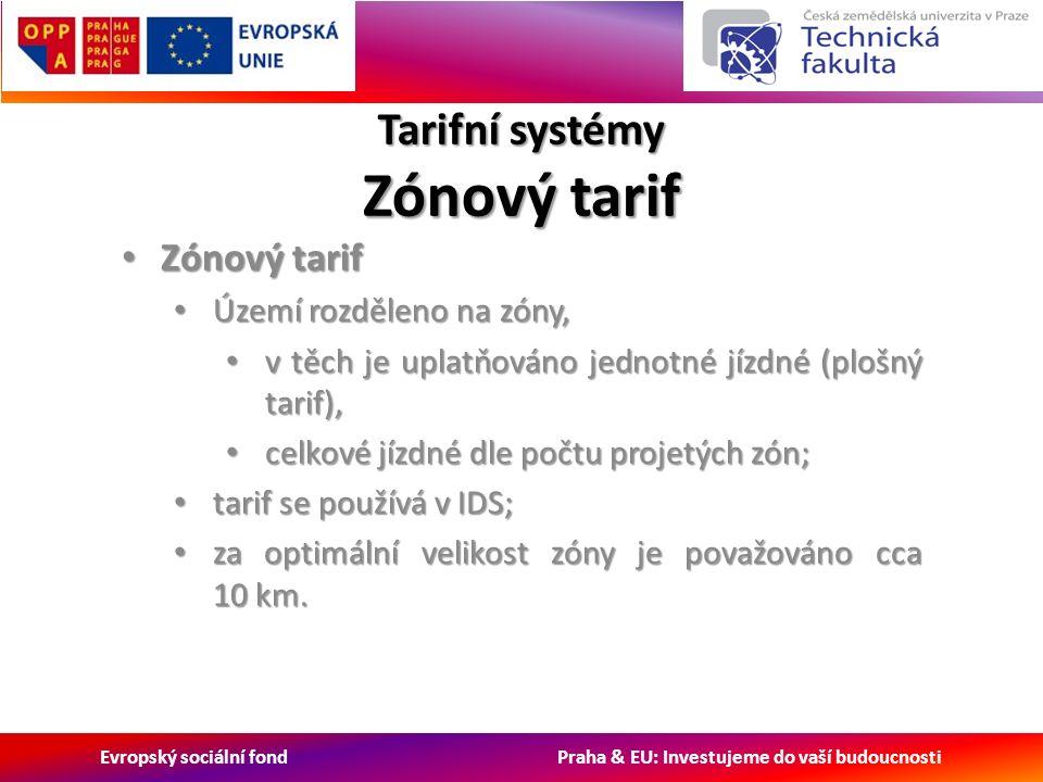 Evropský sociální fond Praha & EU: Investujeme do vaší budoucnosti Tarifní systémy Zónový tarif Zónový tarif Zónový tarif Území rozděleno na zóny, Území rozděleno na zóny, v těch je uplatňováno jednotné jízdné (plošný tarif), v těch je uplatňováno jednotné jízdné (plošný tarif), celkové jízdné dle počtu projetých zón; celkové jízdné dle počtu projetých zón; tarif se používá v IDS; tarif se používá v IDS; za optimální velikost zóny je považováno cca 10 km.