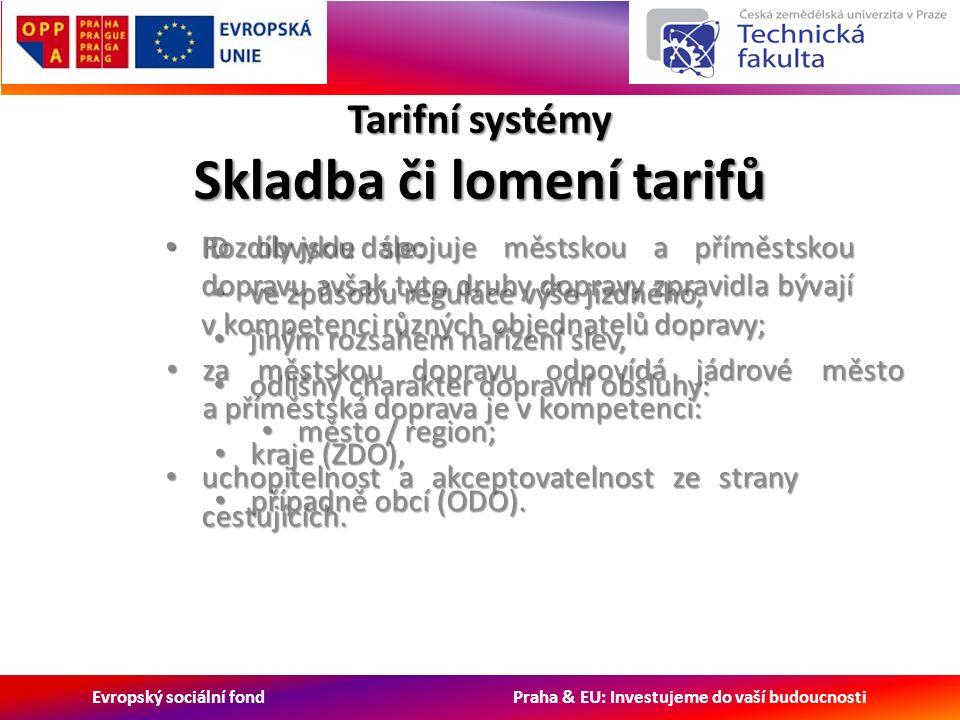 Evropský sociální fond Praha & EU: Investujeme do vaší budoucnosti Tarifní systémy Skladba či lomení tarifů ID obvykle spojuje městskou a příměstskou dopravu avšak tyto druhy dopravy zpravidla bývají v kompetenci různých objednatelů dopravy; ID obvykle spojuje městskou a příměstskou dopravu avšak tyto druhy dopravy zpravidla bývají v kompetenci různých objednatelů dopravy; za městskou dopravu odpovídá jádrové město a příměstská doprava je v kompetenci: za městskou dopravu odpovídá jádrové město a příměstská doprava je v kompetenci: kraje (ZDO), kraje (ZDO), případně obcí (ODO).