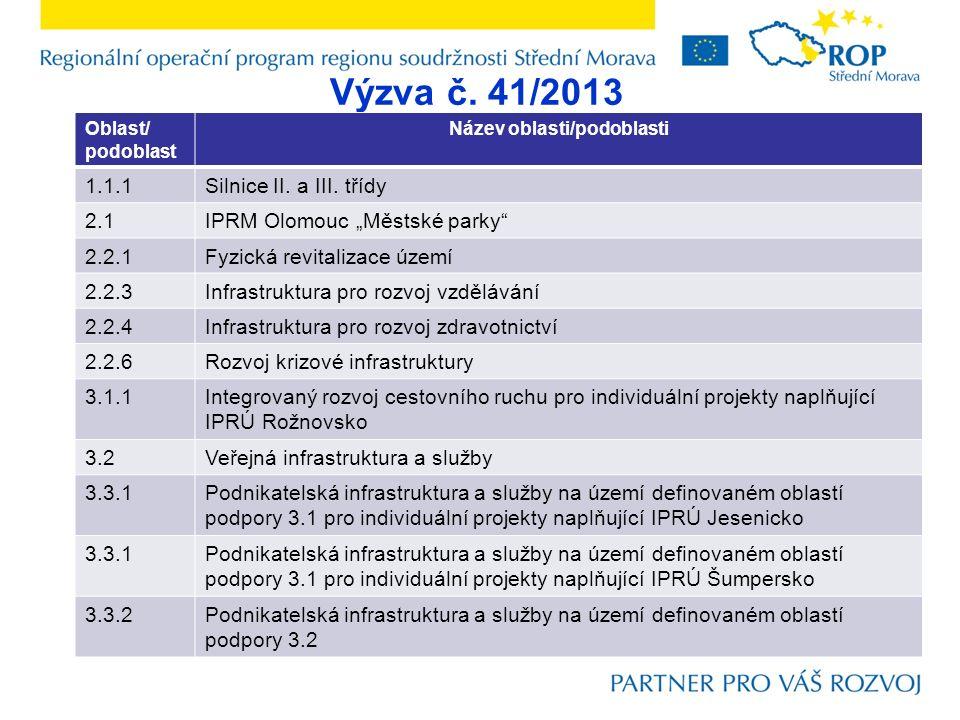 Výzva č. 41/2013 Oblast/ podoblast Název oblasti/podoblasti 1.1.1Silnice II.