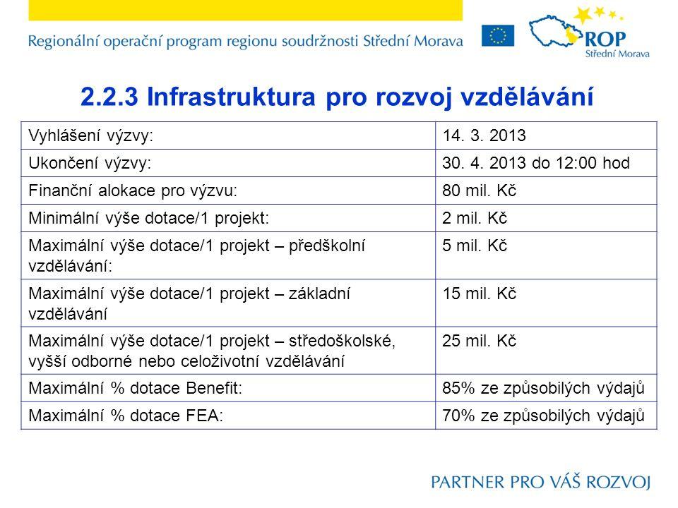 2.2.3 Infrastruktura pro rozvoj vzdělávání Vyhlášení výzvy:14. 3. 2013 Ukončení výzvy:30. 4. 2013 do 12:00 hod Finanční alokace pro výzvu:80 mil. Kč M