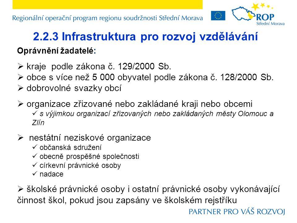2.2.3 Infrastruktura pro rozvoj vzdělávání Oprávnění žadatelé:  kraje podle zákona č.