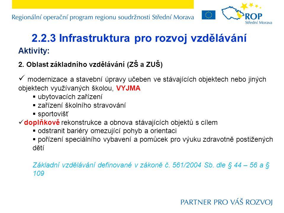 2.2.3 Infrastruktura pro rozvoj vzdělávání Aktivity: 2. Oblast základního vzdělávání (ZŠ a ZUŠ) modernizace a stavební úpravy učeben ve stávajících ob