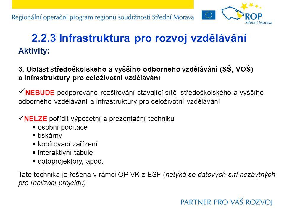 2.2.3 Infrastruktura pro rozvoj vzdělávání Aktivity: 3.