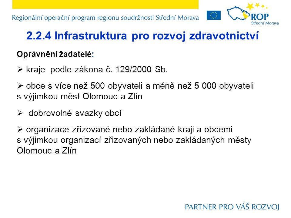 2.2.4 Infrastruktura pro rozvoj zdravotnictví Oprávnění žadatelé:  kraje podle zákona č.