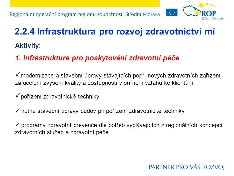 2.2.4 Infrastruktura pro rozvoj zdravotnictví mí Aktivity: 1. Infrastruktura pro poskytování zdravotní péče modernizace a stavební úpravy stávajících