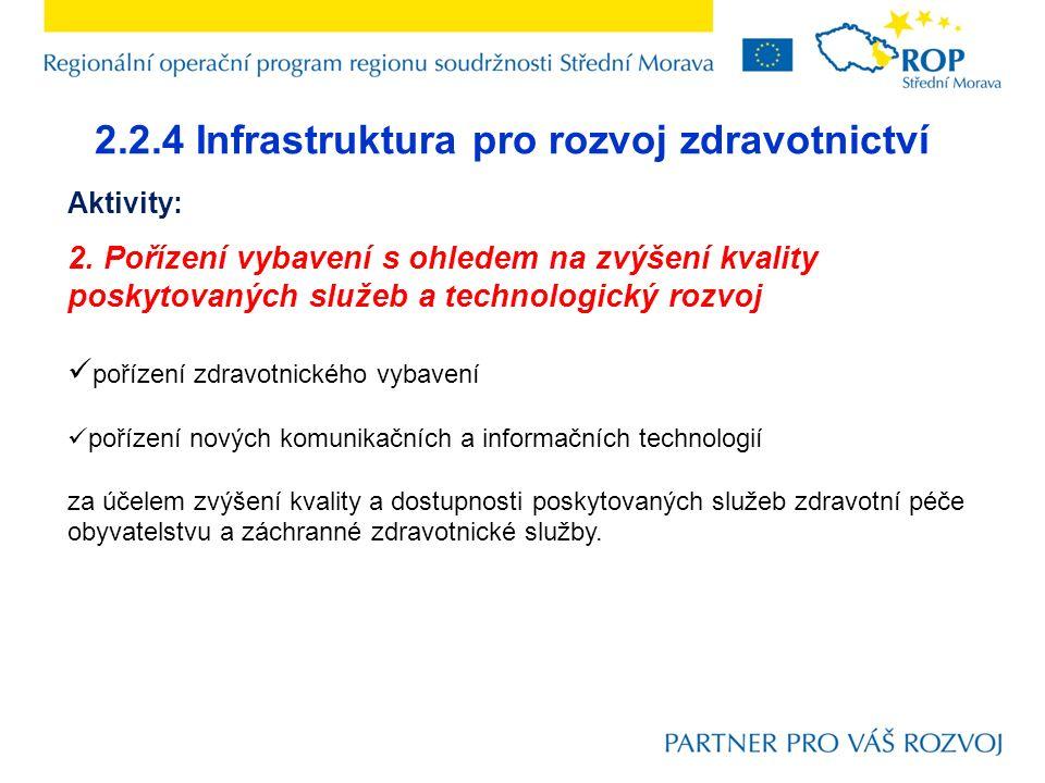 2.2.4 Infrastruktura pro rozvoj zdravotnictví Aktivity: 2.
