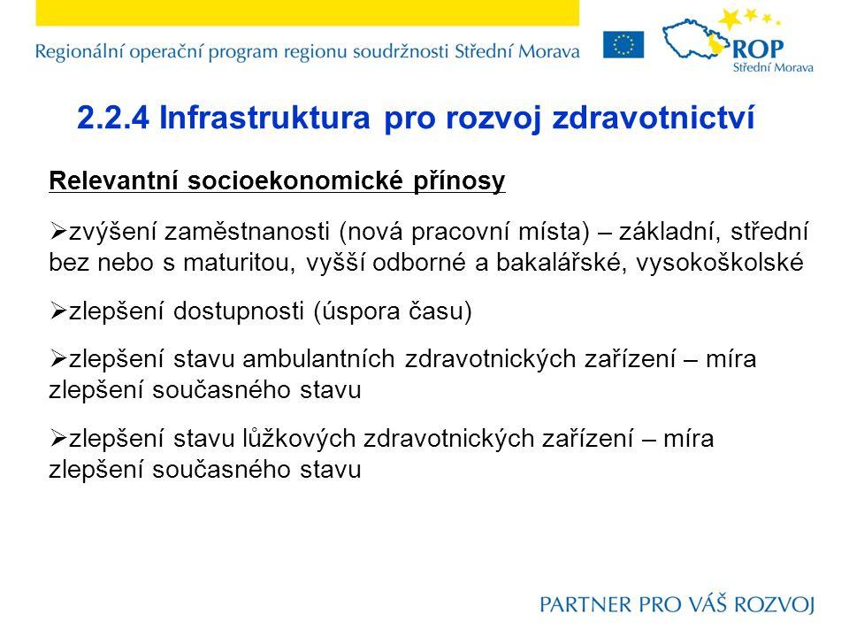 2.2.4 Infrastruktura pro rozvoj zdravotnictví Relevantní socioekonomické přínosy  zvýšení zaměstnanosti (nová pracovní místa) – základní, střední bez