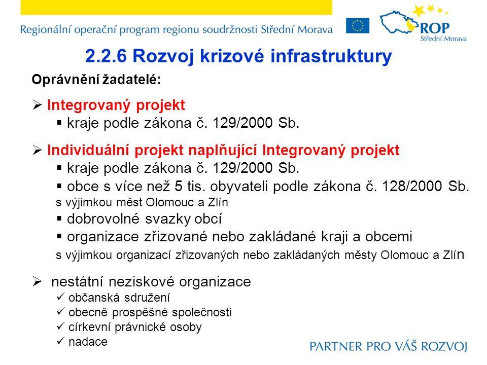 2.2.6 Rozvoj krizové infrastruktury Oprávnění žadatelé:  Integrovaný projekt  kraje podle zákona č.