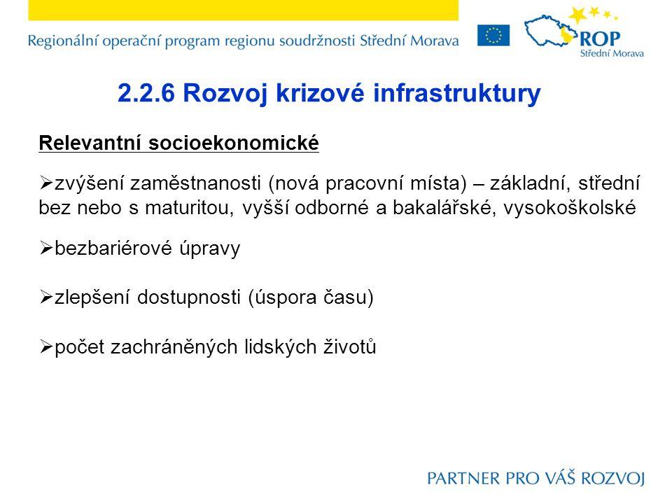 2.2.6 Rozvoj krizové infrastruktury Relevantní socioekonomické  zvýšení zaměstnanosti (nová pracovní místa) – základní, střední bez nebo s maturitou,