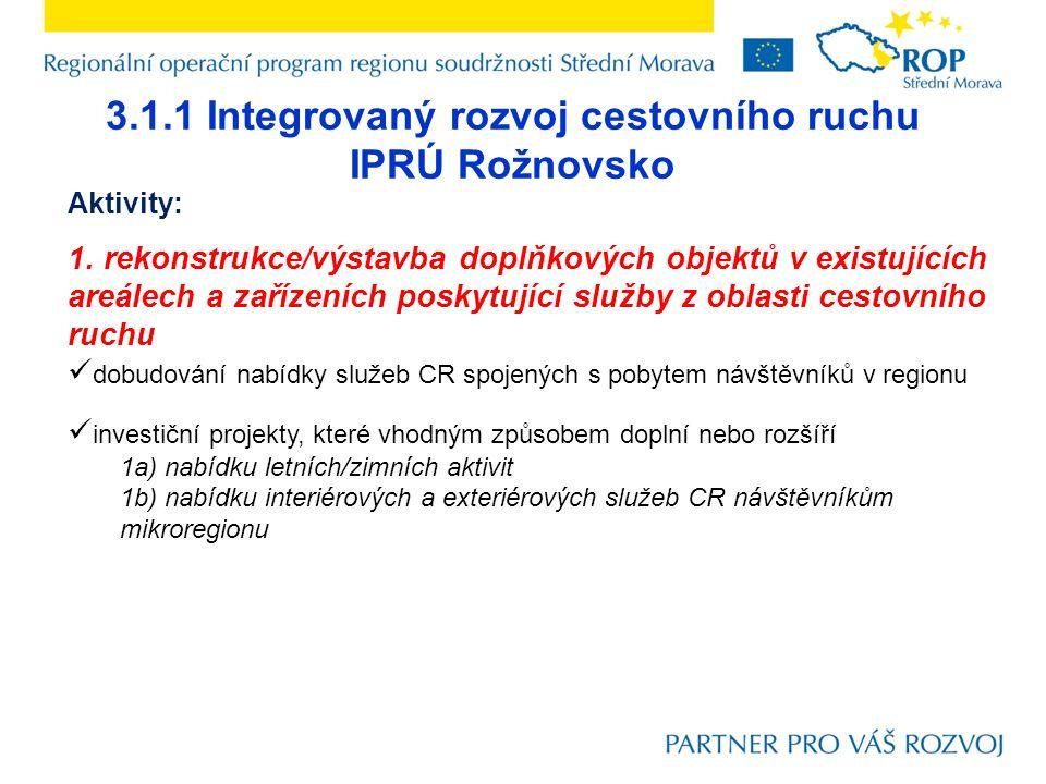 3.1.1 Integrovaný rozvoj cestovního ruchu IPRÚ Rožnovsko Aktivity: 1.