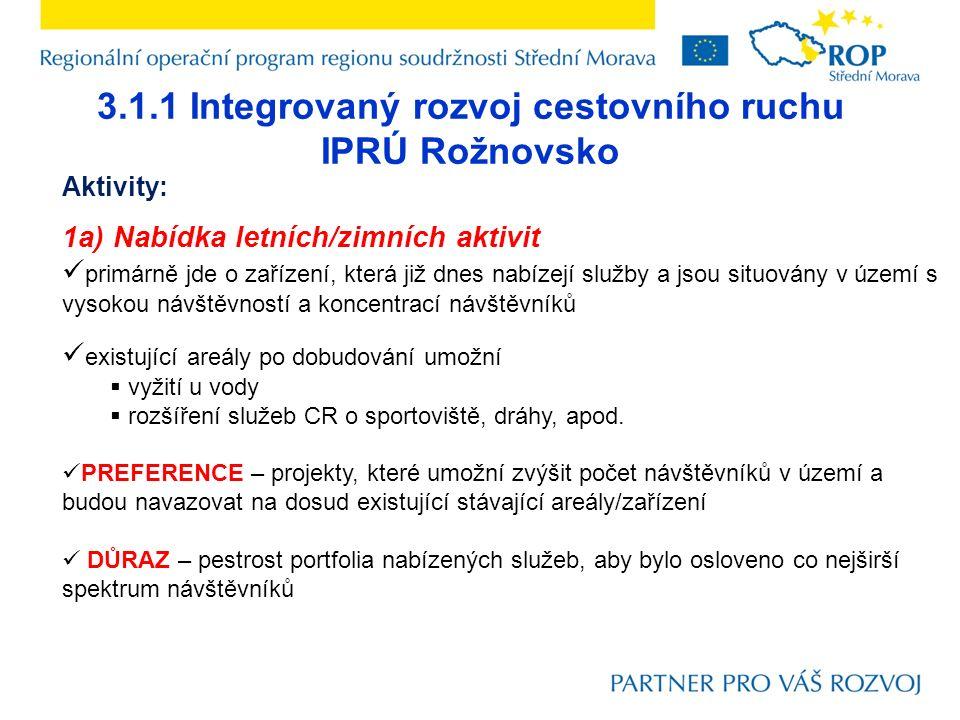 3.1.1 Integrovaný rozvoj cestovního ruchu IPRÚ Rožnovsko Aktivity: 1a) Nabídka letních/zimních aktivit primárně jde o zařízení, která již dnes nabízej