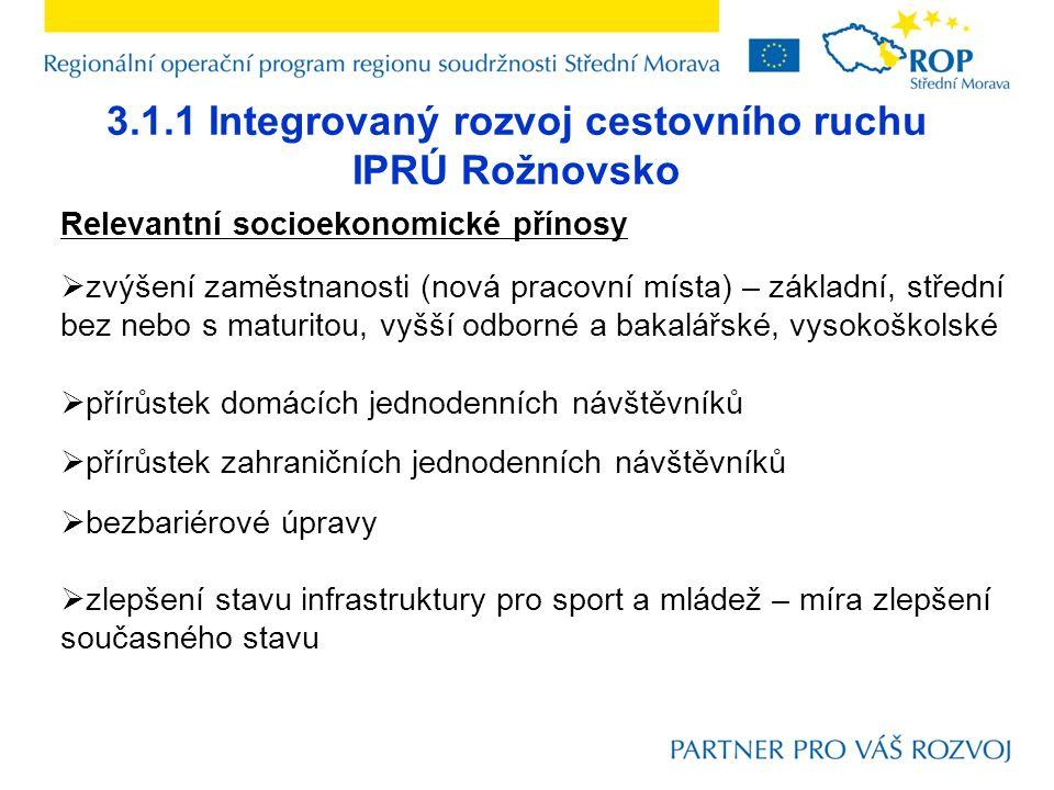 3.1.1 Integrovaný rozvoj cestovního ruchu IPRÚ Rožnovsko Relevantní socioekonomické přínosy  zvýšení zaměstnanosti (nová pracovní místa) – základní, střední bez nebo s maturitou, vyšší odborné a bakalářské, vysokoškolské  přírůstek domácích jednodenních návštěvníků  přírůstek zahraničních jednodenních návštěvníků  bezbariérové úpravy  zlepšení stavu infrastruktury pro sport a mládež – míra zlepšení současného stavu