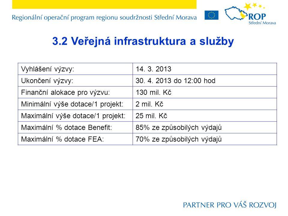 3.2 Veřejná infrastruktura a služby Vyhlášení výzvy:14.