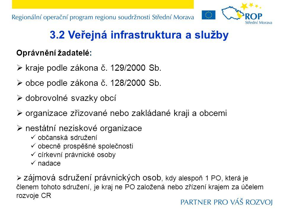 3.2 Veřejná infrastruktura a služby Oprávnění žadatelé:  kraje podle zákona č.