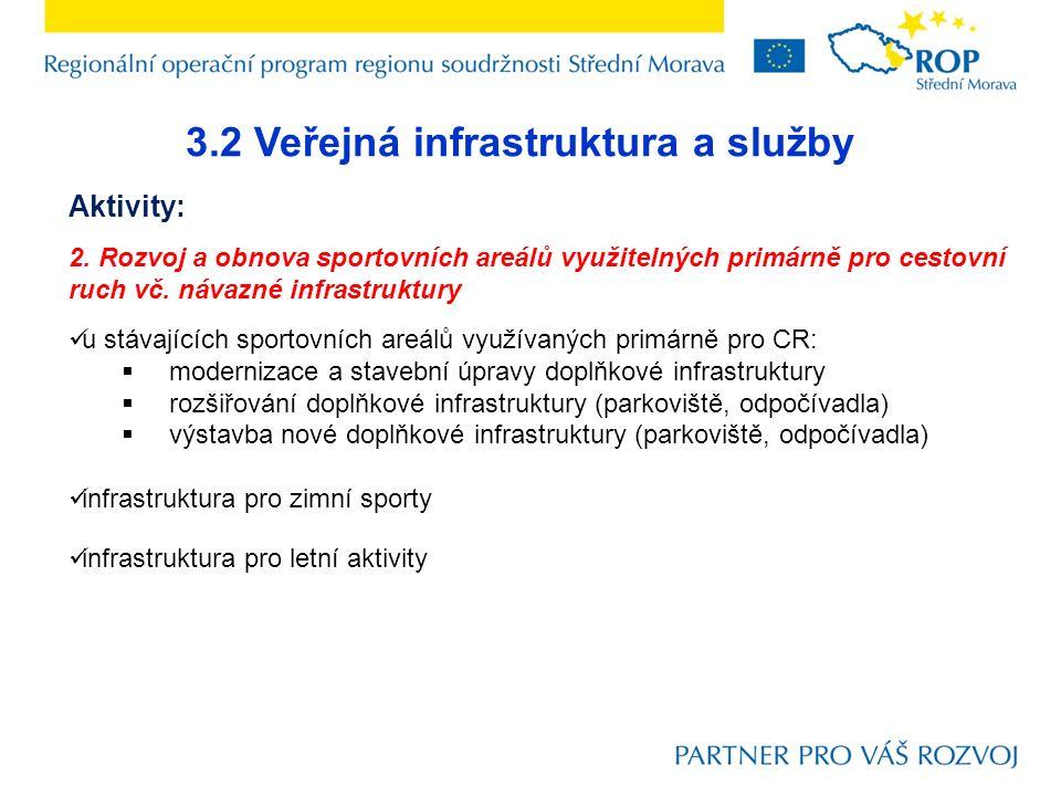 3.2 Veřejná infrastruktura a služby Aktivity: 2. Rozvoj a obnova sportovních areálů využitelných primárně pro cestovní ruch vč. návazné infrastruktury