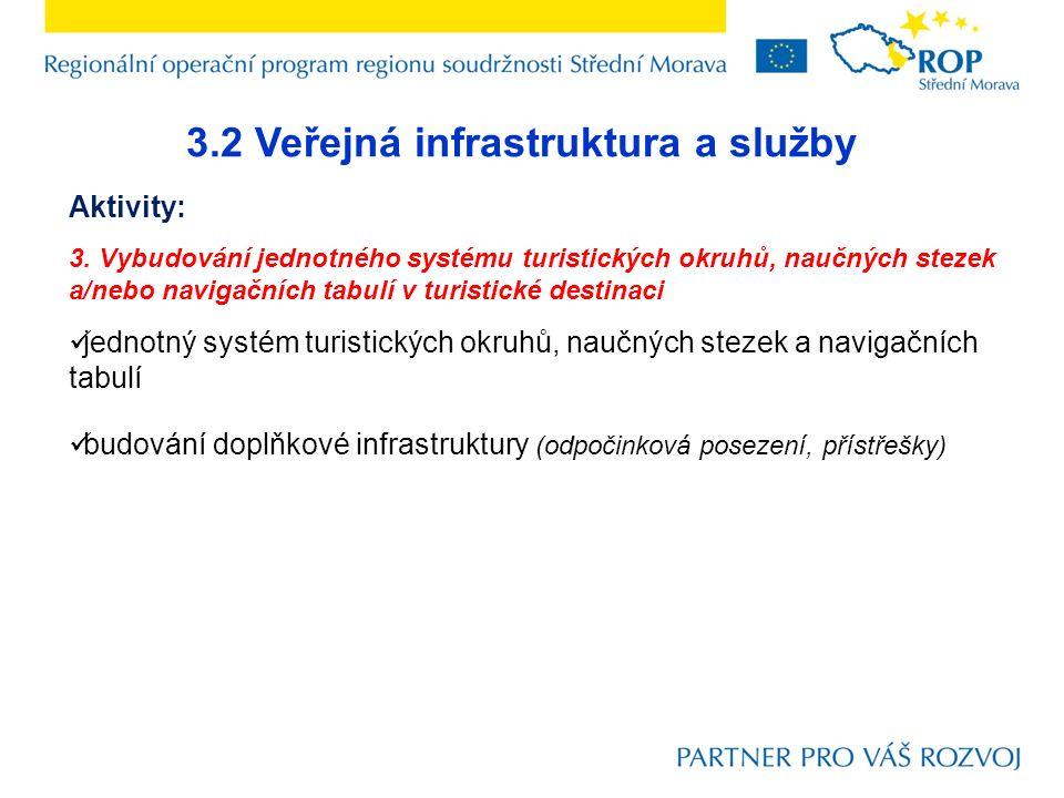 3.2 Veřejná infrastruktura a služby Aktivity: 3. Vybudování jednotného systému turistických okruhů, naučných stezek a/nebo navigačních tabulí v turist