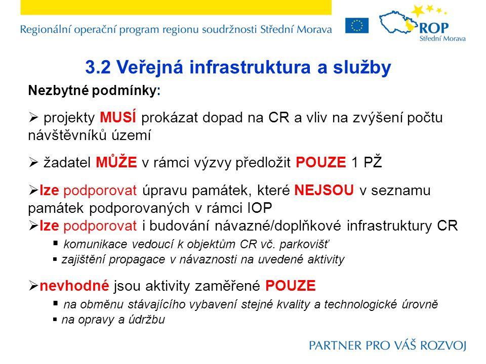 3.2 Veřejná infrastruktura a služby Nezbytné podmínky:  projekty MUSÍ prokázat dopad na CR a vliv na zvýšení počtu návštěvníků území  žadatel MŮŽE v rámci výzvy předložit POUZE 1 PŽ  lze podporovat úpravu památek, které NEJSOU v seznamu památek podporovaných v rámci IOP  lze podporovat i budování návazné/doplňkové infrastruktury CR  komunikace vedoucí k objektům CR vč.