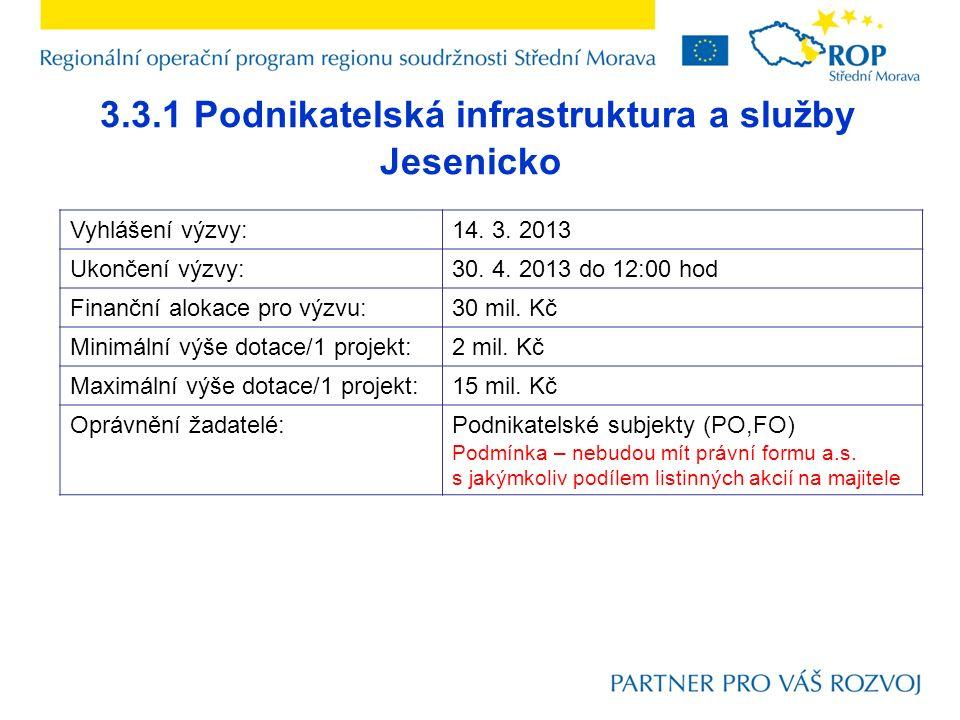 3.3.1 Podnikatelská infrastruktura a služby Jesenicko Vyhlášení výzvy:14.