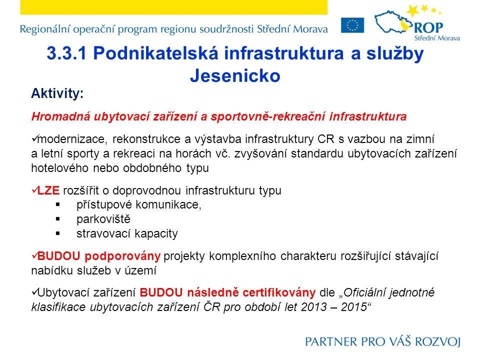 3.3.1 Podnikatelská infrastruktura a služby Jesenicko Aktivity: Hromadná ubytovací zařízení a sportovně-rekreační infrastruktura modernizace, rekonstrukce a výstavba infrastruktury CR s vazbou na zimní a letní sporty a rekreaci na horách vč.