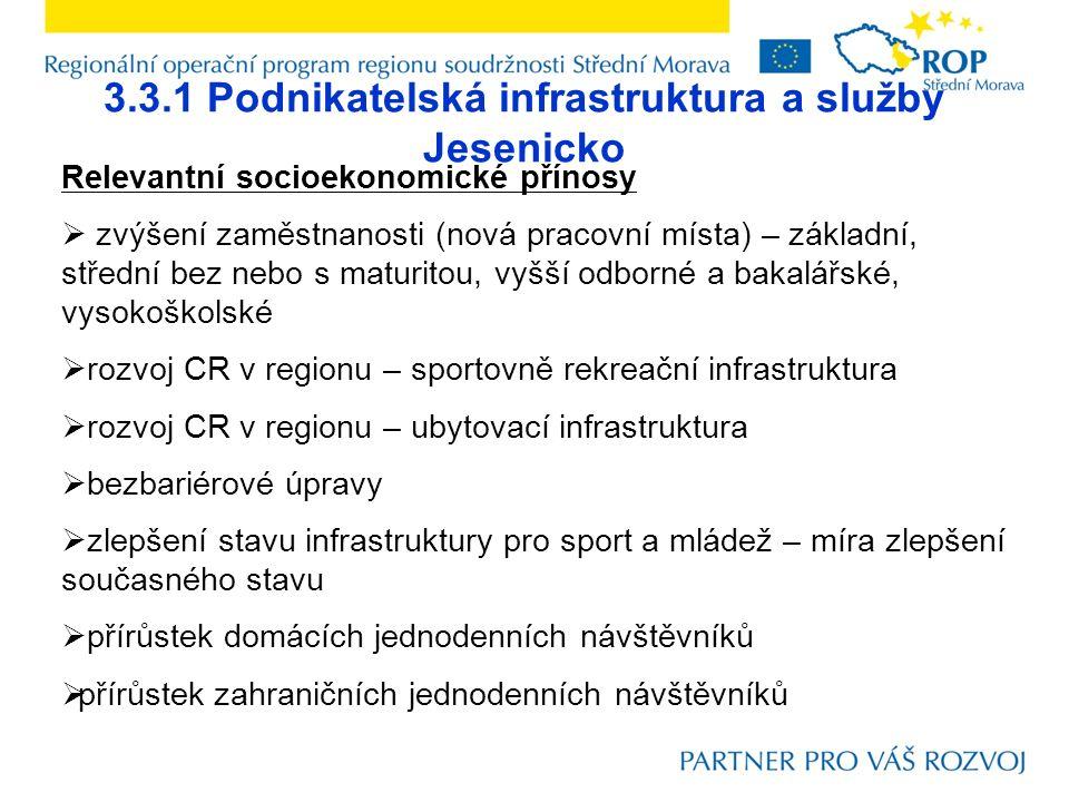3.3.1 Podnikatelská infrastruktura a služby Jesenicko Relevantní socioekonomické přínosy  zvýšení zaměstnanosti (nová pracovní místa) – základní, střední bez nebo s maturitou, vyšší odborné a bakalářské, vysokoškolské  rozvoj CR v regionu – sportovně rekreační infrastruktura  rozvoj CR v regionu – ubytovací infrastruktura  bezbariérové úpravy  zlepšení stavu infrastruktury pro sport a mládež – míra zlepšení současného stavu  přírůstek domácích jednodenních návštěvníků  přírůstek zahraničních jednodenních návštěvníků