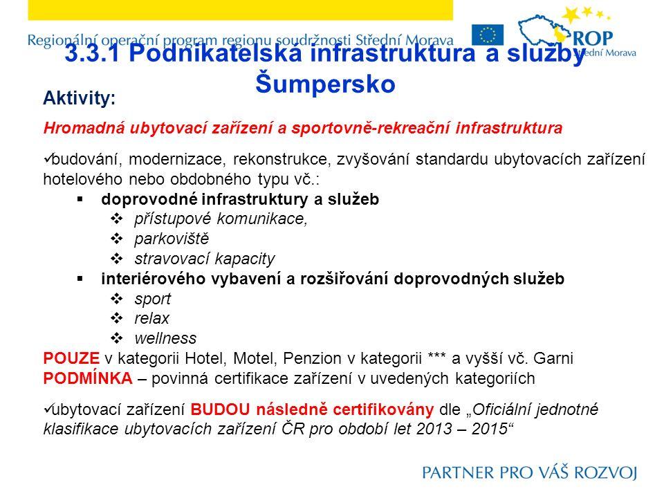 3.3.1 Podnikatelská infrastruktura a služby Šumpersko Aktivity: Hromadná ubytovací zařízení a sportovně-rekreační infrastruktura budování, modernizace, rekonstrukce, zvyšování standardu ubytovacích zařízení hotelového nebo obdobného typu vč.:  doprovodné infrastruktury a služeb  přístupové komunikace,  parkoviště  stravovací kapacity  interiérového vybavení a rozšiřování doprovodných služeb  sport  relax  wellness POUZE v kategorii Hotel, Motel, Penzion v kategorii *** a vyšší vč.