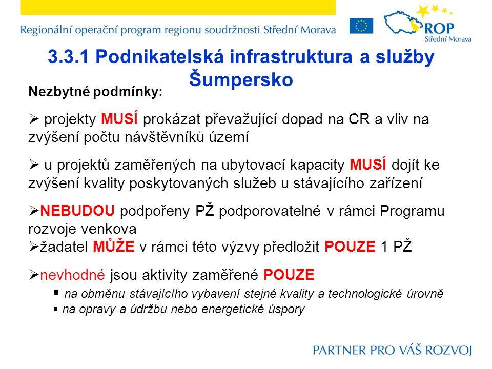 3.3.1 Podnikatelská infrastruktura a služby Šumpersko Nezbytné podmínky:  projekty MUSÍ prokázat převažující dopad na CR a vliv na zvýšení počtu návštěvníků území  u projektů zaměřených na ubytovací kapacity MUSÍ dojít ke zvýšení kvality poskytovaných služeb u stávajícího zařízení  NEBUDOU podpořeny PŽ podporovatelné v rámci Programu rozvoje venkova  žadatel MŮŽE v rámci této výzvy předložit POUZE 1 PŽ  nevhodné jsou aktivity zaměřené POUZE  na obměnu stávajícího vybavení stejné kvality a technologické úrovně  na opravy a údržbu nebo energetické úspory
