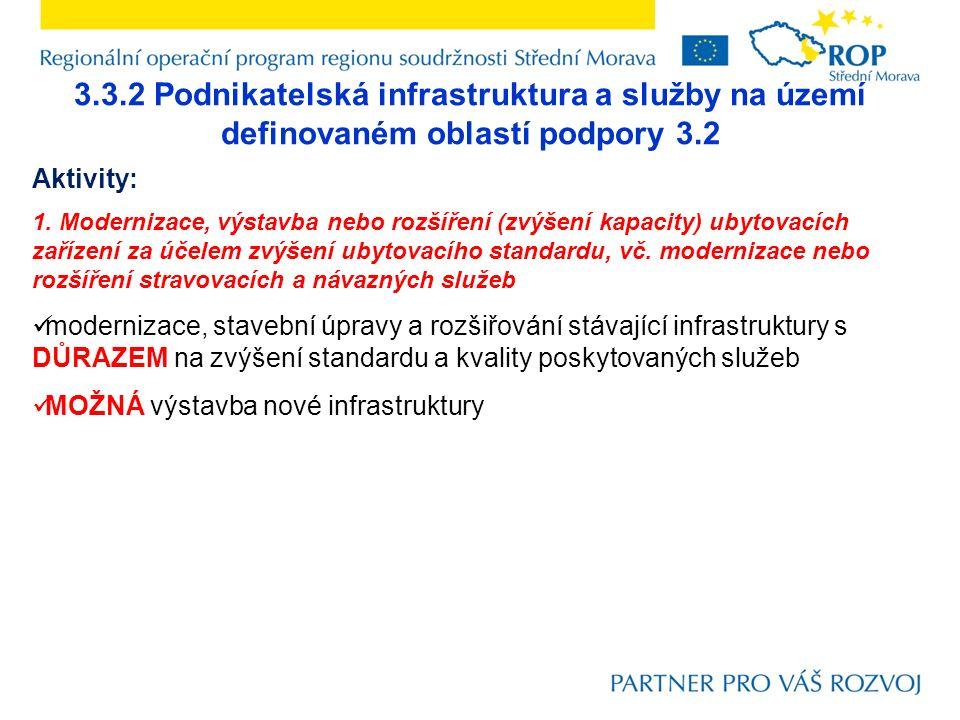 3.3.2 Podnikatelská infrastruktura a služby na území definovaném oblastí podpory 3.2 Aktivity: 1. Modernizace, výstavba nebo rozšíření (zvýšení kapaci