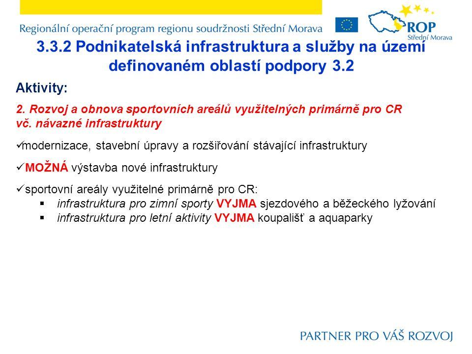 3.3.2 Podnikatelská infrastruktura a služby na území definovaném oblastí podpory 3.2 Aktivity: 2. Rozvoj a obnova sportovních areálů využitelných prim