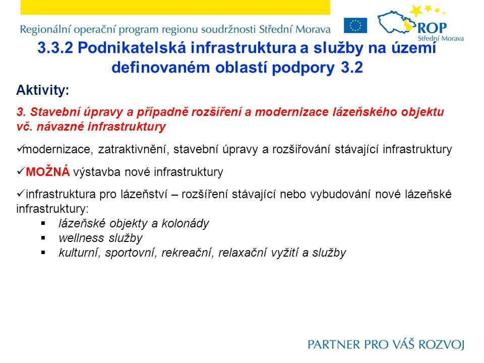 3.3.2 Podnikatelská infrastruktura a služby na území definovaném oblastí podpory 3.2 Aktivity: 3. Stavební úpravy a případně rozšíření a modernizace l