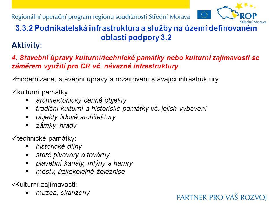 3.3.2 Podnikatelská infrastruktura a služby na území definovaném oblastí podpory 3.2 Aktivity: 4. Stavební úpravy kulturní/technické památky nebo kult