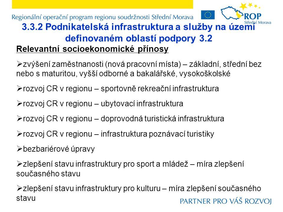 3.3.2 Podnikatelská infrastruktura a služby na území definovaném oblastí podpory 3.2 Relevantní socioekonomické přínosy  zvýšení zaměstnanosti (nová pracovní místa) – základní, střední bez nebo s maturitou, vyšší odborné a bakalářské, vysokoškolské  rozvoj CR v regionu – sportovně rekreační infrastruktura  rozvoj CR v regionu – ubytovací infrastruktura  rozvoj CR v regionu – doprovodná turistická infrastruktura  rozvoj CR v regionu – infrastruktura poznávací turistiky  bezbariérové úpravy  zlepšení stavu infrastruktury pro sport a mládež – míra zlepšení současného stavu  zlepšení stavu infrastruktury pro kulturu – míra zlepšení současného stavu