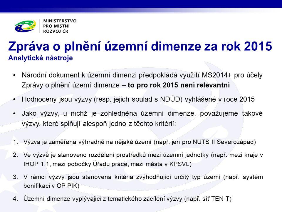 Národní dokument k územní dimenzi předpokládá využití MS2014+ pro účely Zprávy o plnění území dimenze – to pro rok 2015 není relevantní Hodnoceny jsou