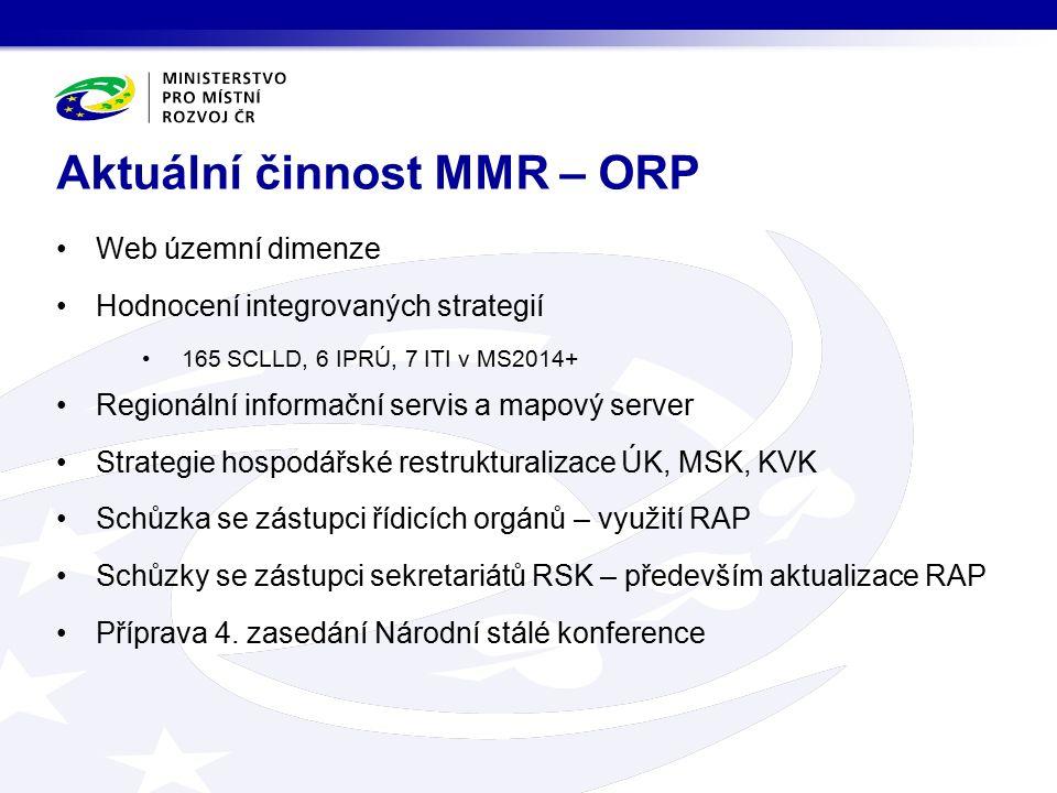 Web územní dimenze Hodnocení integrovaných strategií 165 SCLLD, 6 IPRÚ, 7 ITI v MS2014+ Regionální informační servis a mapový server Strategie hospodá