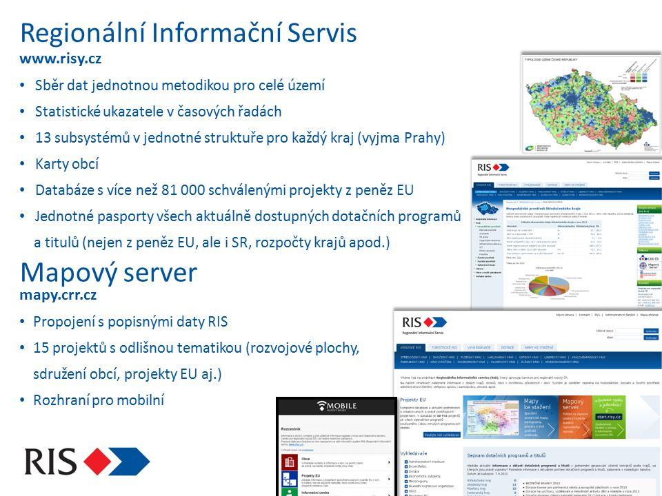 Regionální Informační Servis www.risy.cz Sběr dat jednotnou metodikou pro celé území Statistické ukazatele v časových řadách 13 subsystémů v jednotné