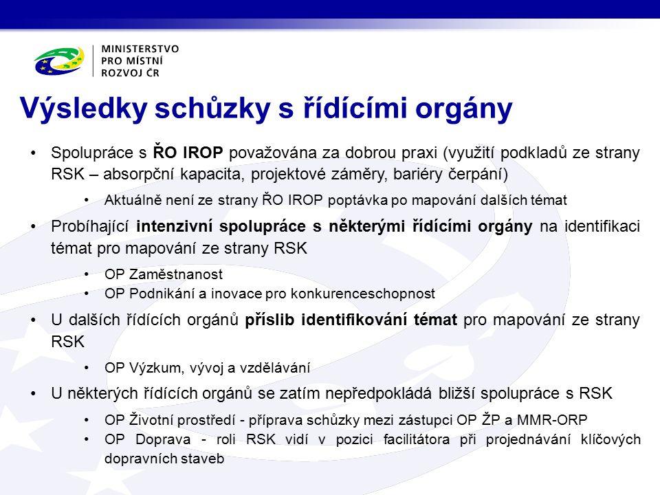 Spolupráce s ŘO IROP považována za dobrou praxi (využití podkladů ze strany RSK – absorpční kapacita, projektové záměry, bariéry čerpání) Aktuálně nen