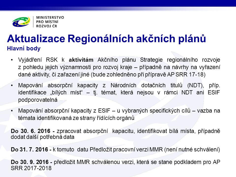 Vyjádření RSK k aktivitám Akčního plánu Strategie regionálního rozvoje z pohledu jejich významnosti pro rozvoj kraje – případně na návrhy na vyřazení