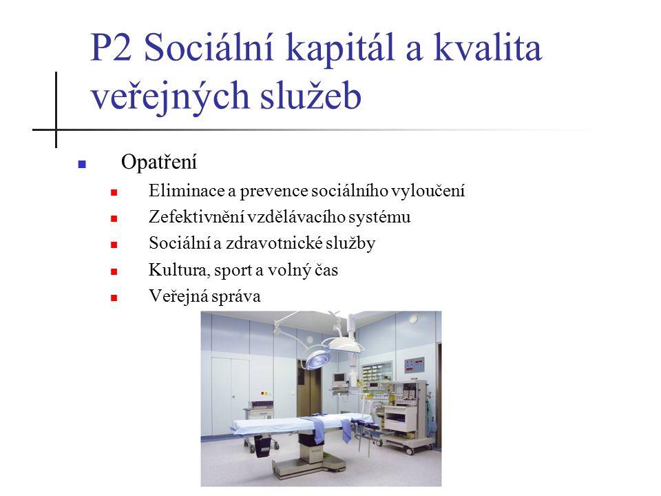 P2 Sociální kapitál a kvalita veřejných služeb Opatření Eliminace a prevence sociálního vyloučení Zefektivnění vzdělávacího systému Sociální a zdravotnické služby Kultura, sport a volný čas Veřejná správa