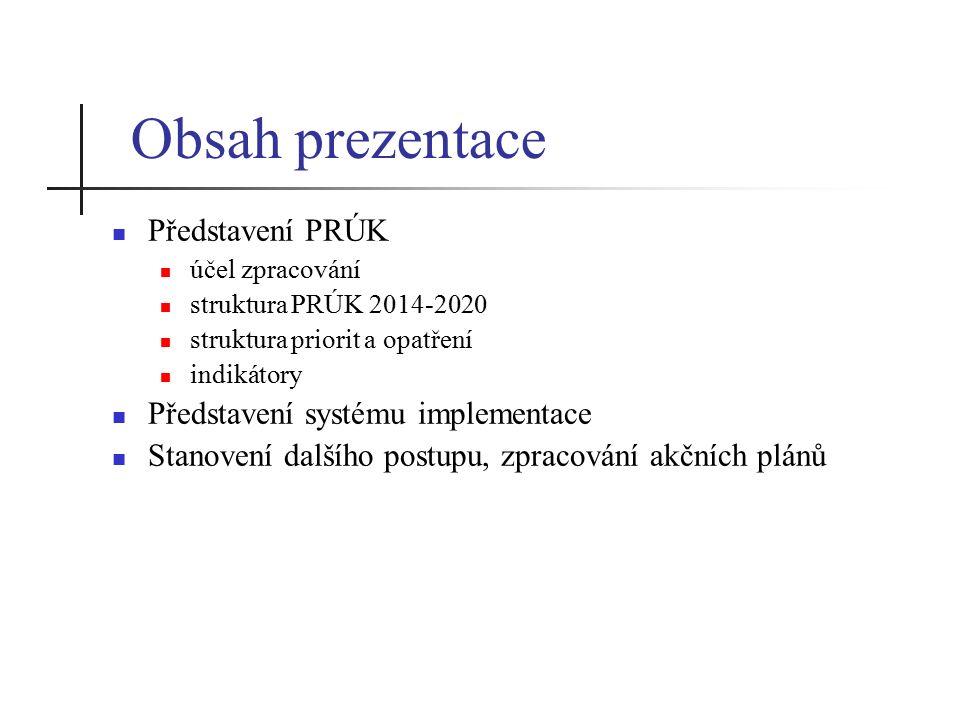 Obsah prezentace Představení PRÚK účel zpracování struktura PRÚK 2014-2020 struktura priorit a opatření indikátory Představení systému implementace Stanovení dalšího postupu, zpracování akčních plánů