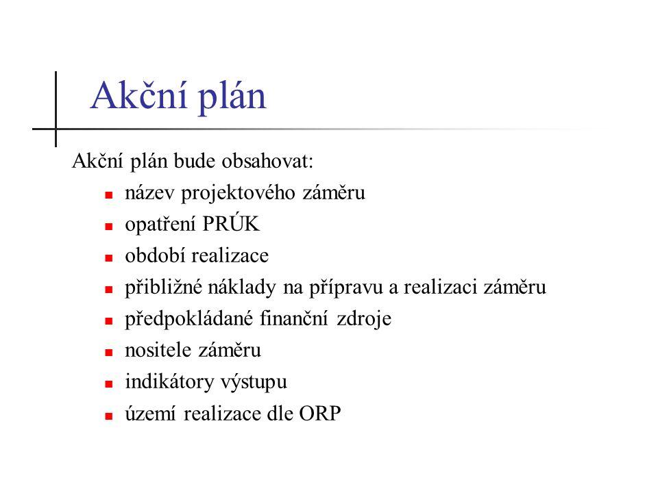 Akční plán Akční plán bude obsahovat: název projektového záměru opatření PRÚK období realizace přibližné náklady na přípravu a realizaci záměru předpokládané finanční zdroje nositele záměru indikátory výstupu území realizace dle ORP