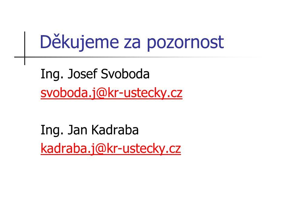 Děkujeme za pozornost Ing. Josef Svoboda svoboda.j@kr-ustecky.cz Ing.