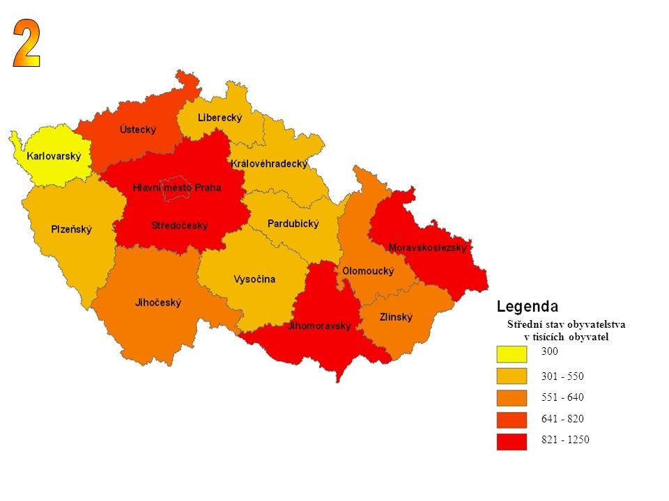 300 301 - 550 551 - 640 641 - 820 821 - 1250 Střední stav obyvatelstva v tisících obyvatel