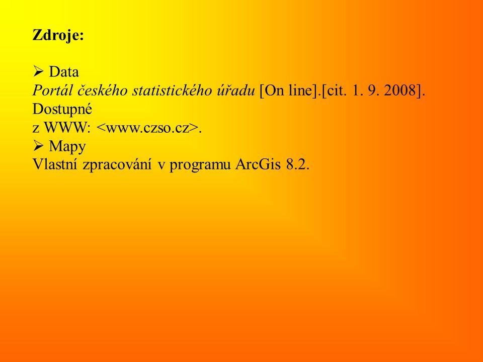 Zdroje:  Data Portál českého statistického úřadu [On line].[cit. 1. 9. 2008]. Dostupné z WWW:.  Mapy Vlastní zpracování v programu ArcGis 8.2.