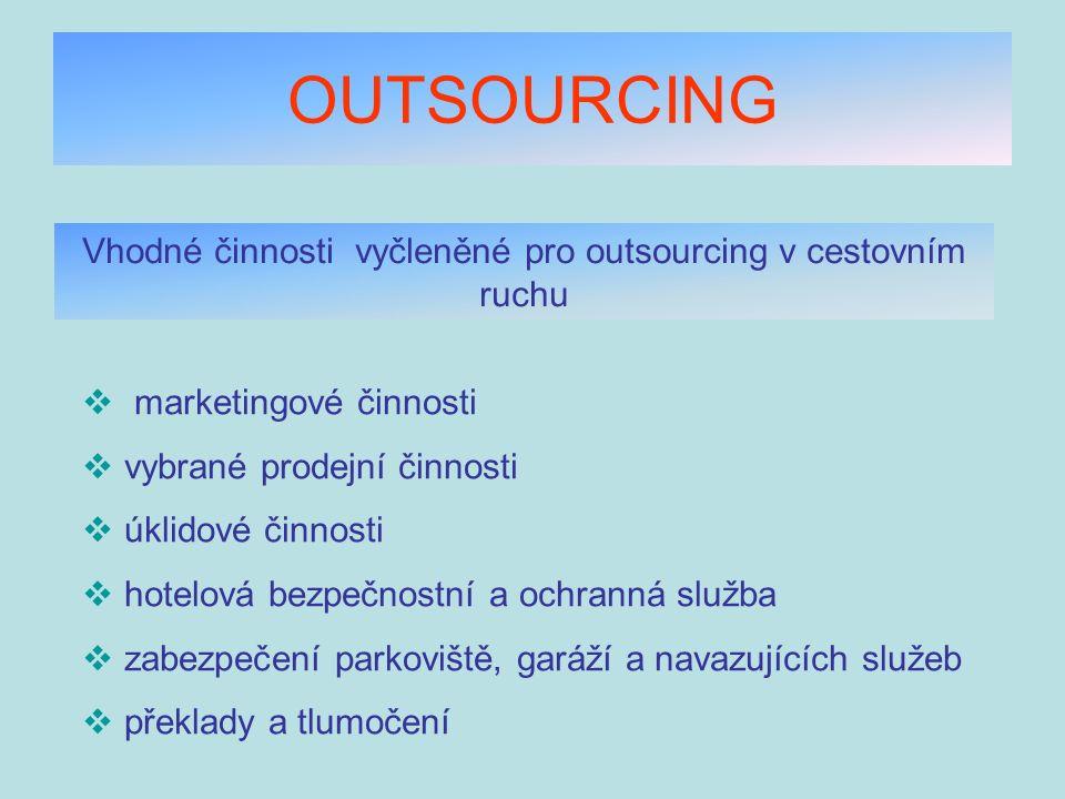 OUTSOURCING Vhodné činnosti vyčleněné pro outsourcing v cestovním ruchu  marketingové činnosti  vybrané prodejní činnosti  úklidové činnosti  hote