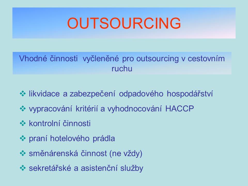 OUTSOURCING Vhodné činnosti vyčleněné pro outsourcing v cestovním ruchu  likvidace a zabezpečení odpadového hospodářství  vypracování kritérií a vyh